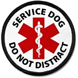 Do Not Distract Service Dog Medical Alert 2.5 inch Black Rim Hook Velcro Patch