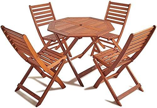 4 mesas de comedor de madera y sillas - mesas y sillas de jardin octogonal antiguos suites 4-5 conjuntos de muebles de exterior hechas de 100% de madera dura, Brown, Brown hizo,Brown