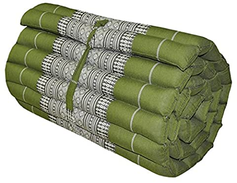 Roll up Thai Mattress, 79x21x2 inches, Kapok (small, Green) . (Free a Gift Hb Herbal Breen Eri Silk Protein Handmade Body Soap, Tamarind + Honey Soap By Hb - 2 Free Mattresses