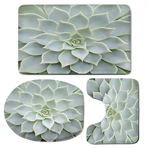 3 Piece Bath Mat Rug Set,Cactus-Decor,Bathroom Non-Slip Floor Mat,Cactus-Plant-Flower-Zoomed-Photo-Image-Desert-Mexican-Hot-Natural-Plant-Artwork,Pedestal Rug + Lid Toilet Cover + Bath Mat,Green by iPrint