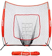 GoSports 7' X 7' Baseball & Softball Practice Hitting & Pitching Net with Bow Frame, Carry Bag