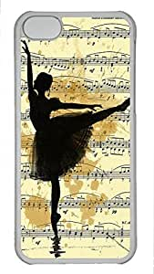 Shell Case for iphone 5C with Ballet-Dancer and Music DIY Fashion PC Transparent Hard Skin Case for iphone 5C