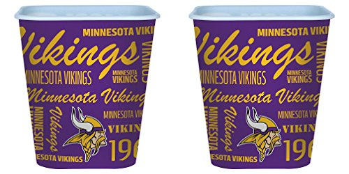Minnesota Vikings 3 Liter Reusable Plastic Snack Bucket 2 Pack