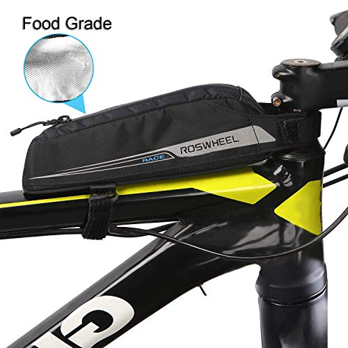 Bike Energy Bag beedee, Bike Snack Bag 0.4L Professional Frame Bag for Cyclists Racing Fuel Tank Food Grade Saddle Bag Waterproof Bike Top Tube Bags for Energy Gel/Energy Bar/Chocolate/Snack, Black