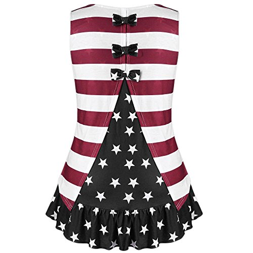 Respctful✿Womens Summer Casual American Loose Ruffles Swing Tops with Bowknot