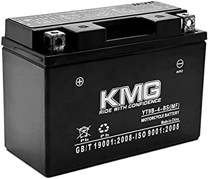 KMG YT14B-BS Sealed Maintenace Free 12V Battery High Performance SMF OEM Replacement Powersport Motorcycle ATV Scooter Snowmobile Watercraft