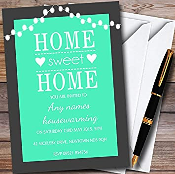 Housewarming Party Invites Mint Green String Lights Personalised Invitations With Envelopes