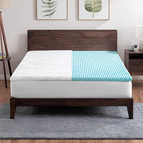 Bedsure 2-inch Memory Foam Mattress Topper Queen – Pressure Alleviation Mattress Pad – Egg Crate Bed Topper with Removable and Washable Cover – CERTIPUR US, Oeko-Tex