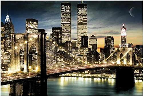Manhattan Lights New York City Skyline Art Poster Print Brooklyn Bridge World Trade Center