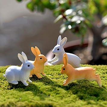 Rabbit Figurine Model Plush Animals Figure Home Decor Garden Home Ornaments