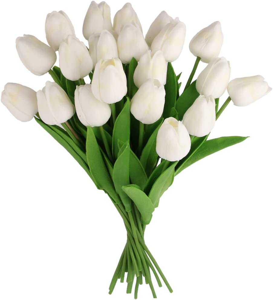Dedoot Artificial Flowers, Pack of 20 Tulips Artificial Flowers Real Touch Long Stem Faux Tulip Flowers Arrangement Bouquet for DIY Wedding Party Home Decor, White