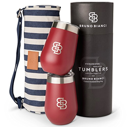 Bruno Bianci Insulated Wine Tumbler with Lid Set of 2, Stemless Stainless Steel Wine Glasses, Outdoor Unbreakable Double Wall Vacuum Drink Cups, Portable Tote for Boating, Beach, Travel, Picnic 12 oz