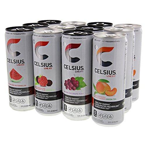 Celsius Variety Pack 1, 3-Sparkling Grape, 3-Sparkling Watermelon, 3-Raspberry Acai Green Tea, and 3- Peach Mango Green Tea 12 - 12 fl oz (355mL) Cans