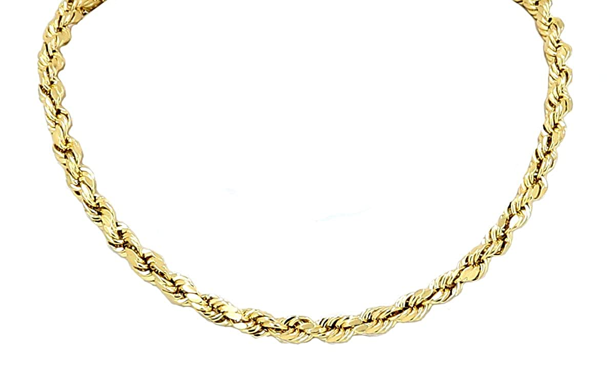 271ae6324b2be Yellow Gold Diamond Cut Rope Chain Real Solid 14k 18
