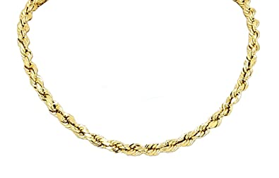 19ddf16445613 Yellow Gold Diamond Cut Rope Chain Real Solid 10k 16