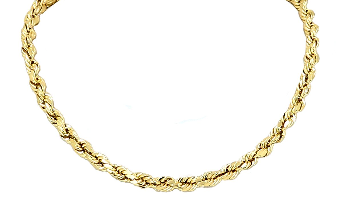Yellow Gold Diamond Cut Rope Chain Real Solid 10k 16'' to 28'', 5.0mm (18)