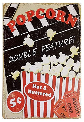HERBERT Popcorn Double Feature Iron Poster Painting Plaque Metal Sheet Vintage Personalized Art Creativity Decoration CraftsCafe Bar Garage Home