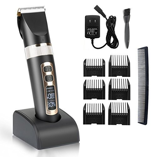 Hair Clippers Cordless Hair Trimmer Grooming Kit Professional Haircut,3 Adjustable speeds,Electric And Rechargeable with Charging base & 6 Guide combs for Adults, Men, Kids and Babies ()