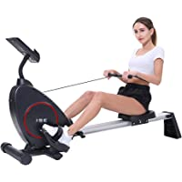 ISE Rameur d'appartement Rameur à air Pliable Appareil de Fitness Musculation Cardio Training Compatible avec Application Smartphone