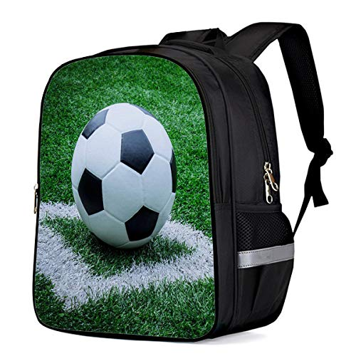 Water Resistant School Backpack, Football Lawn Oxford 3D Print College Student Rucksack Daypack for School Camping Travel 33x28x16cm]()
