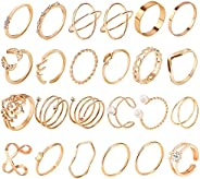 24PCS Gold Stackable Ring Set Knuckle Rings for Women, Trendy Rings for Teen Girls, Bohemian Vintage Rings Fas