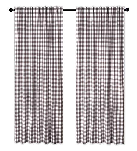 Cotton Clinic Gingham Buffalo Check Window Curtains 2 Panels 50x84, Curtains for Living Room, Curtains for Bedroom, Curtains 84 Inch Length, 2 Pack Set Cotton Tab Top Curtains Charcoal Grey White