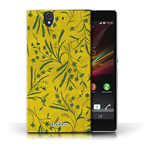 Etui pour Sony Xperia Z / Jaune/Vert conception / Collection de Motif floral blé