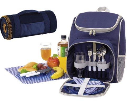 Picknickrucksack-fr-2-Personen-mit-Khlfach-in-Blau-Picknickdecke