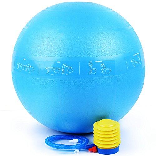 Exercise Ball Yoga Chaise 65 cm Anti Burst Testé Supports 2000lbs Anti-Slip pour Fitness Stabilité Équilibre Core Force Naissance Pilates Incluant Icône d'entraînement + Quick Pum