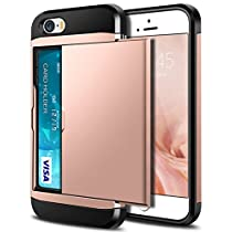 iPhone SE Case, iPhone 5S Case, SAMONPOW Hybrid Dual Layer Armor iPhone SE Wallet Case Card Holder Shockproof Heavy Duty Protection Hard PC Soft Rubber Bumper Cover for iPhone 5 / 5S / SE