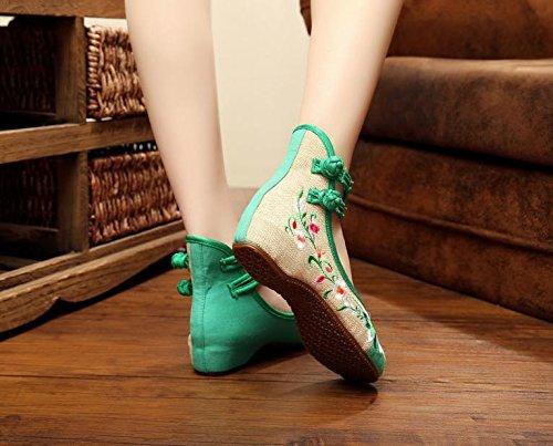 WXT Zapatos bordados finos, lenguado del tendón, estilo étnico, zapatos femeninos, manera, zapatos cómodos, que bailan Green