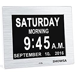 5 Alarm Options - 8 Digital Calendar Alarm Day Clock with Extra Large Non-Abbreviated Day & Month, Hurrah Extra-Large Memory Loss Digital Calendar Digital Clock - 2 Color Display Settings (Silver)