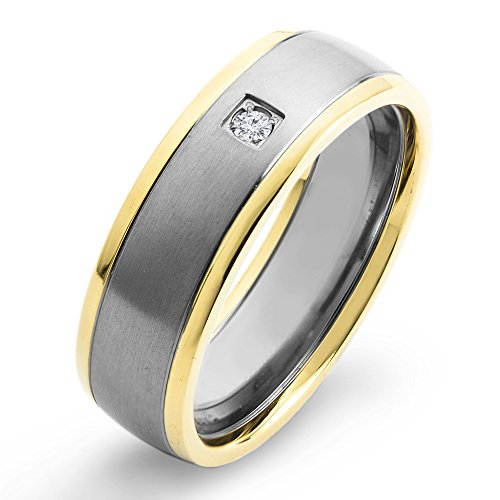 West Coast Jewelry | Crucible Gold Plated Titanium and 0.03 CTW Diamond Brushed Comfort Band (H-I, SI2) - Size 11