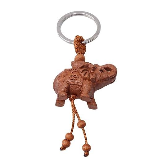 SHIJIAN Llavero con Colgante de Elefante de la Suerte, de Madera, diseño de Elefante, para Colgar en el Coche, para Mujeres y niñas