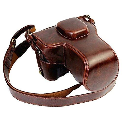 NEWLAN Schutz Kompakte Leder Tasche mit Schultergurt für für Fujifilm X-T1XT1mit 18-55mm Digital Kamera (Kaffee)