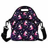 Cool Unicorn Lunch Bag for Girls Teens with Zipper Pocket and Adjustable Detachable Strap Reusable Neoprene Insulated Lunch Tote Box, Purple