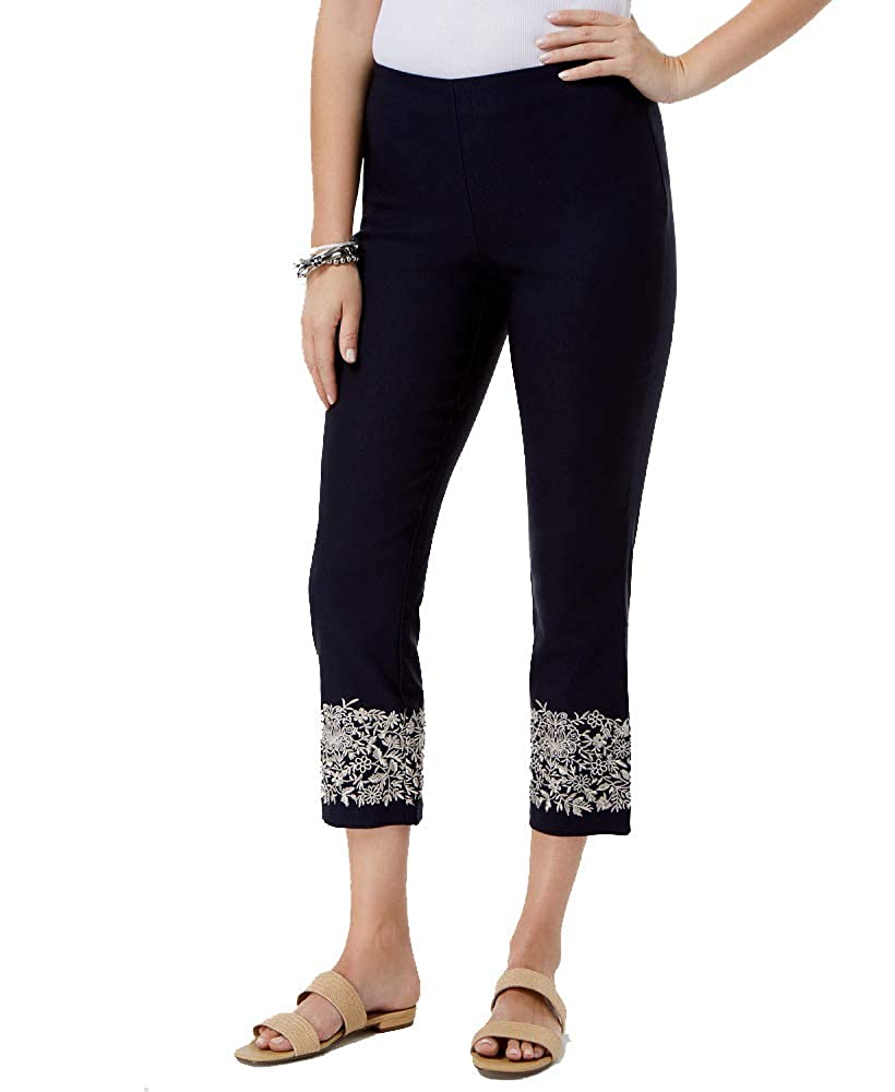 Charter Club Tummy-Control Embroidered Capri Pants