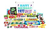 A great gift for someone who is having their 41st birthday in 2018. Contains: Atomic Fireballs, Bonomo Turkish Taffy, Dots, Chuckles, Mike and Ike, Red Hots, Jawbusters, Pop Rocks, Razzles, Mary Janes, Fun Dip, Kits, Pixy Stix, Candy Necklace...