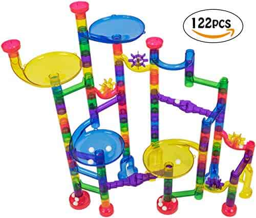 JeberToys Marble Run 122 Pcs - Quality, Thick, Well Made Pieces Allows for A Tall & Sturdy Build - Keep Kids Entertained for Hours - Great Gift