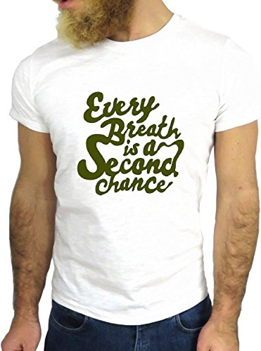 T SHIRT JODE Z1563 EVERY BREATH IS A SECOND CHANCE LIFESTYLE FUN COOL FASHION GGG24 BIANCA - WHITE XL