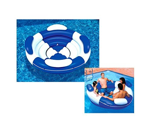 84 Water Sports Inflatable Blue and White Sofa Island Swimming Pool Lounger by Swim Central