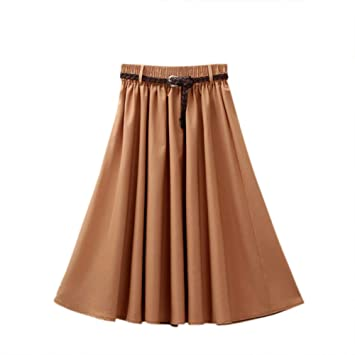 DAHDXD Mujeres Elegantes Falda de Cintura Alta Plisada Longitud de ...