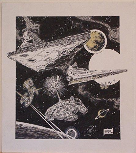 DAVE ULANSKI original art, STAR WARS MILLENNIUM FALCON, 11x12, 1997