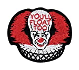 IT Pennywise Inspired Art You'll Float Too Glue OR Tactical Morale Hook+Loop Patch (GLUE-Red)