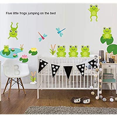 Cute Frog Decals Wall Stickers Jumping Frogs with Dragonflies and Lotus - Pond Friends Frog Window Sticker Set Individual Peel and Stick Graphics on a (25.5 in W x 10.6 in H) Sticker Sheet: Home Improvement