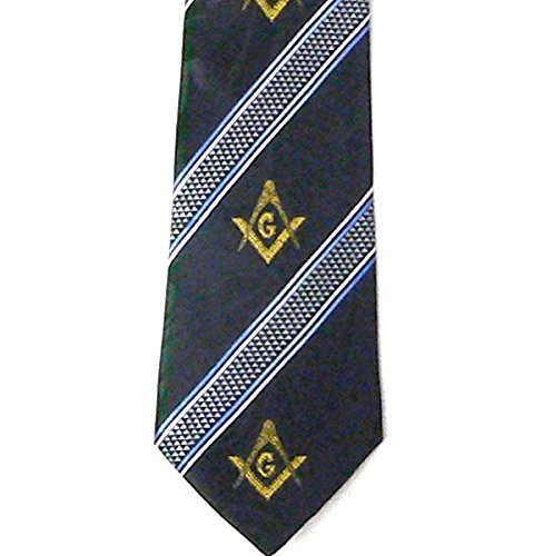 Mason Mens Necktie - Masonic Neck Tie - Navy Blue Polyester long tie with Compass and Square symbols between slanted lines Masonic pattern design for Freemason Members (Masonic Tie)