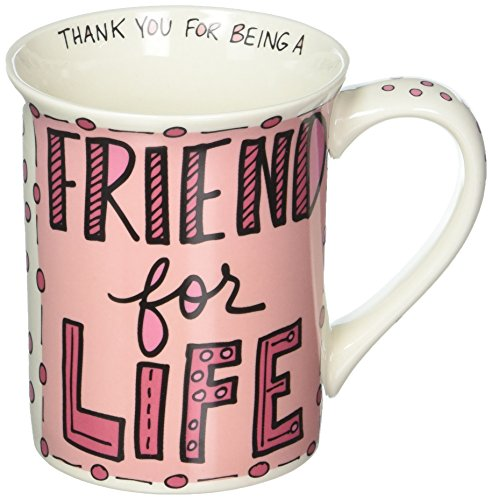 Enesco 6000112 Our Name Is Mud Hand-Drawn Friend for Life Stoneware Coffee Mug, 16 oz, (Friendship Cup)