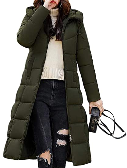 b9e019a2256 Mallimoda Women s Quilted Winter Coats Hooded Zip Up Padded Parka Down  Jacket Long Thicken Outerwear Army