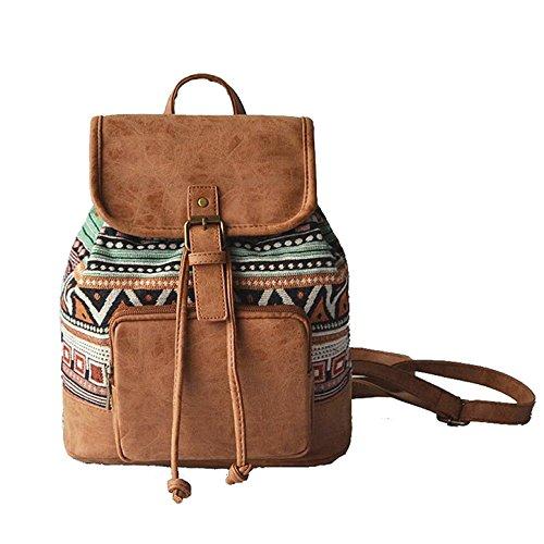 Fanshu - Bolso mochila para mujer Rosé Marrón