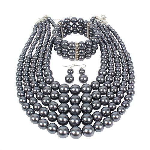 (KOSMOS-LI Multi Layer Pearl Strand Necklace Bracelet and Earring Imitate Grey Pearl Jewelry Set)